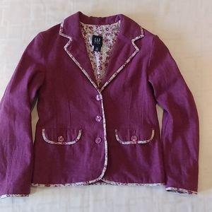 Gap Kids Purple Blazer With Flower Detail Size 8